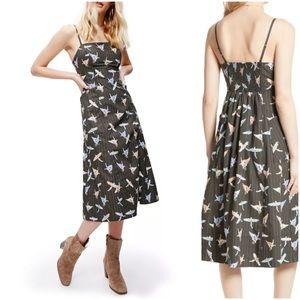Free People Sunshine of Your Love Bird Print Dress